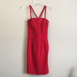 Escada Red Sheath Dress Convertible New Wool 36